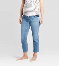 Isabel Maternity Inset Panel Straight Crop Jeans NWT 14 Med Wash 13a