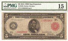 $5 1914 FRN RED SEAL Fr# 843b RARE San Francisco PMG 15