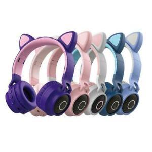Wired Foldable Kids Girl Unicorns Cat Ear LED Glowing Gaming Headset Headphones