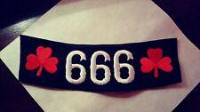 Side Rocker Patch 666 with Shamrocks. Black, white red Patch. Biker 1%er Slayer