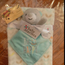 BABY STARTER LOT 2 BLANKET & SECURITY BEAR BE HAPPY LEAVES SMILEY BOY GIRL AQUA
