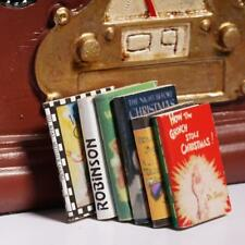 6 pcs 1:12 Wooden Doll House Miniature Books Colorful For Dollhouse Room Decor