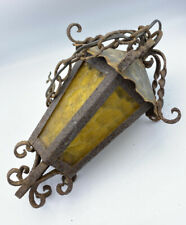 Vintage Spanish Gothic Colonial Wrought Iron & Amber Glass Light Fixture