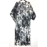 Natori size Small caftan gown lounger black white gray S