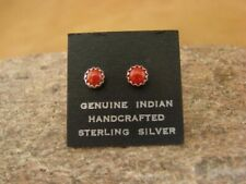 Native American Sterling Silver Coral Dot Post Baby Earrings Navajo Indian