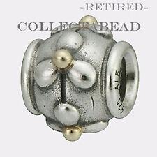 Authentic Pandora Silver & 14k Gold Tivoli Bead 790383 *RETIRED, SPECIAL!