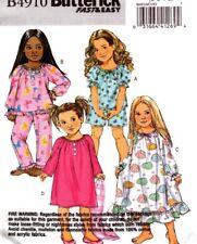 Butterick Sewing Pattern B4910 4910 Girls Pyjamas Nightie Sleepwear Size 6-8