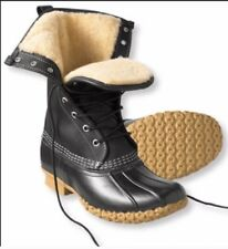 RARE!Size 6(fits5.5-6.5) LL BEAN BOOTS WOMENS Black Leather.SHEARLING Lined.Duck