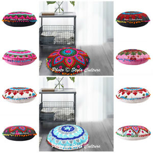 """17"""" Suzani Embroidered Cushion Cover Indian Decorative Meditation Floor Pillows"""