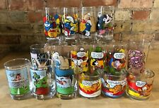 Lot 16 Vintage Cartoon Animated Collector Glasses: Smurfs, Garfield, Peanuts