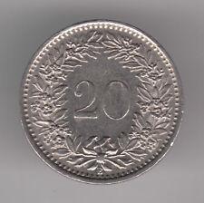 Suiza 20 Rappen 1969 moneda de cobre-níquel-Helvetia