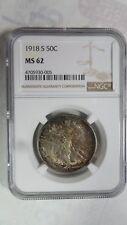 U.S. United States US Walking Liberty Half Dollar, 1918 S, NGC MS 62  good toned