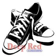 ALL STAR SNEAKERS DEEP RED CLING RUBBER STAMP Unmounted Card Making Stamping