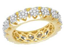 14K Yellow Gold Real Diamond Cluster Eternity Wedding Band Ring 1 1/2 CT 7MM