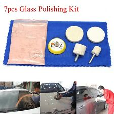 7PCS Glass Scratch Remov Polishing Kit 70g Cerium Oxide Powder & 2'' Wheel Pad