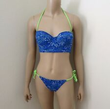 NWT Abercrombie Womens Floral Bikini Swimsuit Size Large Royal Blue