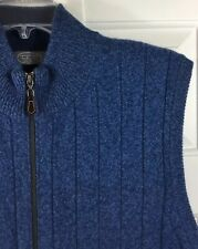 TALBOTS Men's Lambswool Angora Rabbit Hair Full Zip Blue Sweater Vest Size L