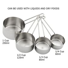 4pc Stainless Steel Measuring Cups 60 80 125 250ml Measure Flour Spices Coffee