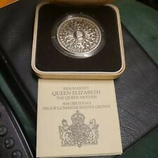 More details for uk 1980 queen mother 80th birthday silver proof coin - boxed + coa