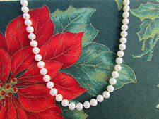 """Lustrous Strand Of 5 mm White 17"""" Freshwater Pearl Necklace With 14K Clasp"""