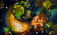 Home Art Wall Decor Mermaid Girl Fantasy Oil Painting Picture Printed on Canvas