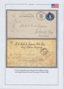 PUERTO RICO 1909, STATIONERY COVER FROM CAGUAS TO GERMANY
