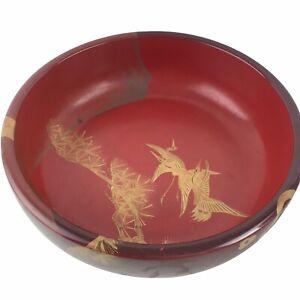 "Vintage Japanese Red Black Wooden Wood Lacquer Bowl Gold Cranes Mt. Fuji 10"" U12"