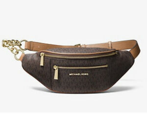 MICHAEL KORS Medium Print PVC With Leather Trim Belt Bag Brown/Gold