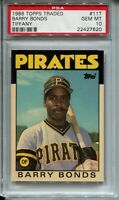 1986 Topps Traded Tifffany Baseball Barry Bonds Rookie Card XRC PSA Gem Mint 10