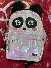 NEW Justice Sparkle Big Eyes Panda Flip Sequin School Pom Pom Ears Backpack NWT