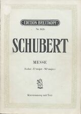 Schubert 'Messe' E-flat Major Piano and Words  - Edition Breitkopf Nr.1626