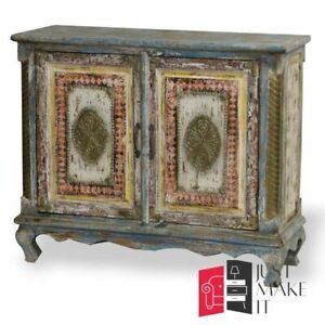 MADE TO ORDER Hand Carved Indian Handmade Solid Wood Multicolou Sideboard Floral