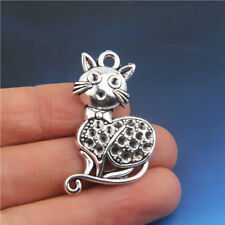 10Pcs Tibetan silver Cat Shaped Pendants Charms Crafts Findings 37*23mm