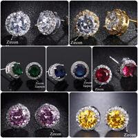 7 Colors Elegant Srud Earrings Women 925 Silver Jewelry Cubic Zircon A Pair/set