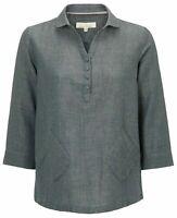 BN SEASALT Mooring Port Broomfields Granite Cotton Linen Top Shirt Blouse 8/22