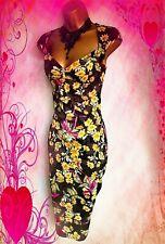 KAREN MILLEN  STUNNING FLORAL DAISY GALAXY STYLE PENCIL WIGGLE DRESS UK 10