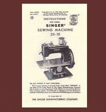Singer 20 toy child sewhandy sewing machine MANUAL INSTRUCTIONS 20-10 (1948)