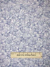 Beach Sea Shell Fabric 100% Cotton By The Yard Timeless Treasures Nautical Ocean