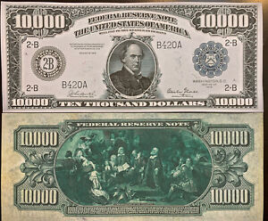 Reproduction Copy 1918 $10,000 Federal Reserve Note Currency US See Description