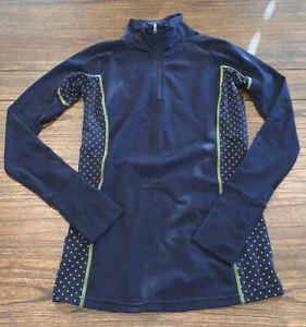 Aerie Fit Women's Sz Small 1/4 Zip Active Top - Long Sleeved Navy Thumb Holes