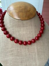 Strand 12mm Red Coral Shell Round Bead 16.5 inch with Magnetic Clasp
