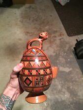 Beautiful Pisac Peru Pottery Jaguar Handle Signed Rafael Guido Iturriaga Torre