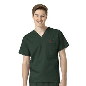 Wonderwink Collegiate University Of Miami Hurricanes Scrub Top Sz M-XL NWT