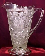 Antique Rayed Flower Pitcher Early American Pattern Glass Indiana 132 Clear EAPG