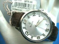 BULOVA 96P111 LADIES DRESS WATCH S/S SILVER DIAL 12 REAL DIAMONDS /ANALOG MODERN