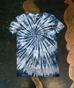 Grey Black spiral handmade Hippy Tie Dye T shirt UNISEX SIZES S-5XL festival top