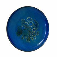 Vintage Blue Enamel Copper Plate Handmade Signed Pauline MCM Fruit & Veggies