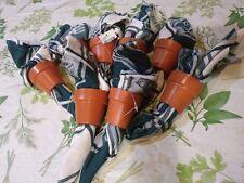 NEW Set of 8 Nature Flower Pot napkin ring +8 green white birdhouse pot napkins