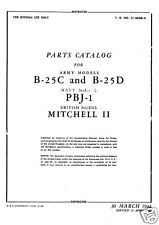 WW2 Historic North American B-25 Mitchell parts service archive manual 1940's