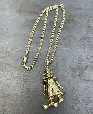 18ct gold filled large clown pendant 3D moving arms legs with cuban curb chain